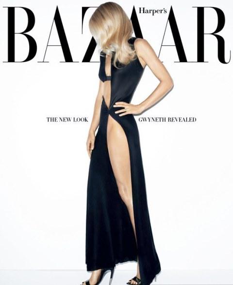 "A atriz Gwyneth Paltrow na caa da ""Harper's Bazaar"" americana. Ela usa vestido do estilista belga Anthony Vaccarello. Crédito: Terry Richardson/Reprodução"