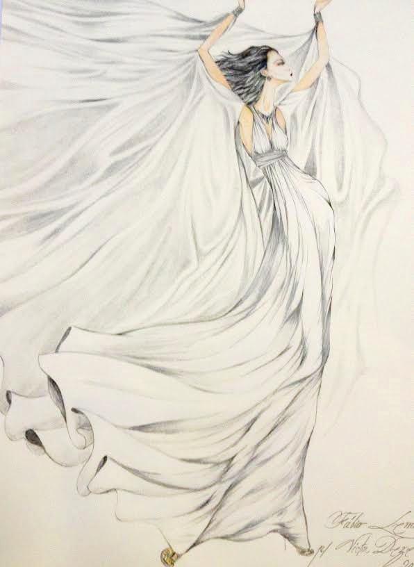 """Croqui do vestido criado pelo estilista Victor Dzenk para o filme """"Rio Eu Te Amo"""""""