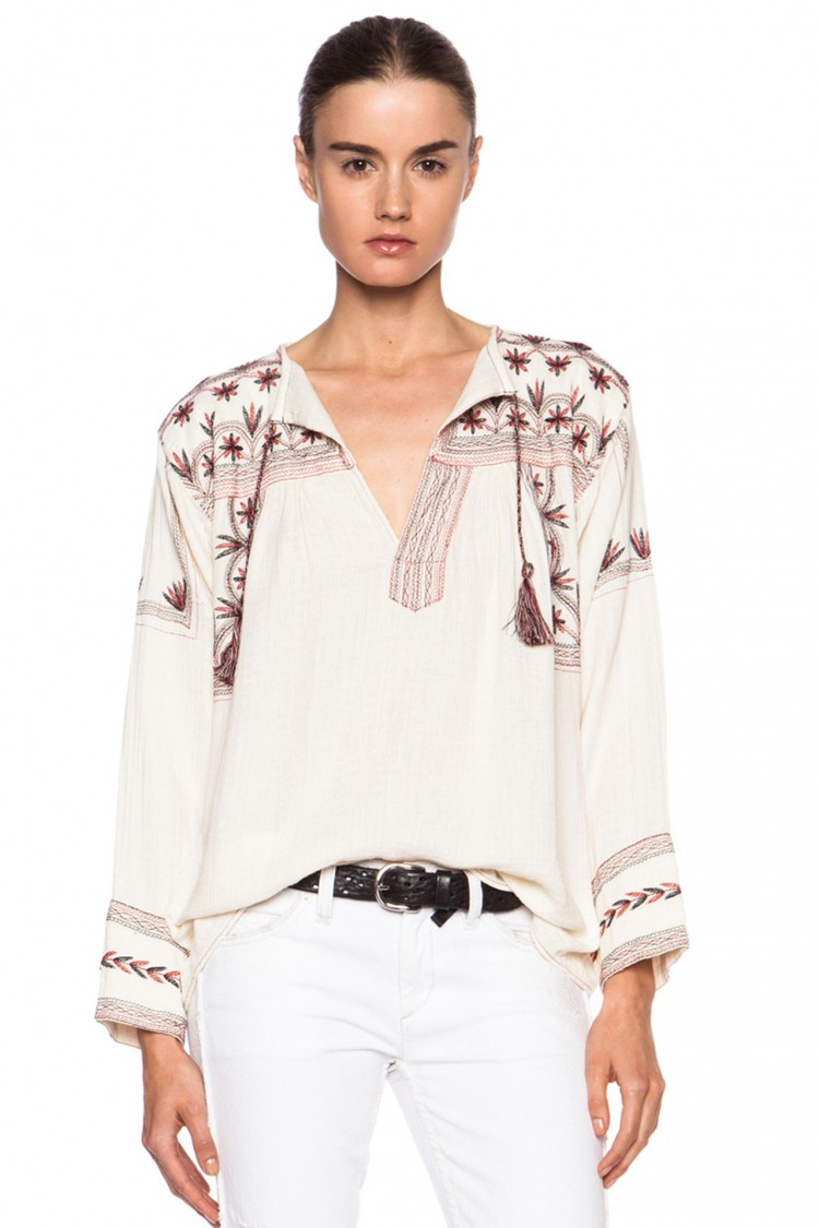 """Peça de Isabel Marant que teria sido """"copiada"""" de desenhos ancestrais da tribo mexicana Mixe de Oaxaca. A blusa não está mais disponível para compra no site Net-a-Porter, que a vendia por quase R$1 mil. Reprodução"""