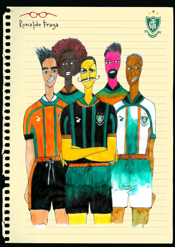 Quatro versões dos uniformes que Ronaldo Fraga desenhou para o América-MG. Os trajes serão apresentados em fevereiro do próximo ano. Crédito: Ronaldo Fraga/Divulgação