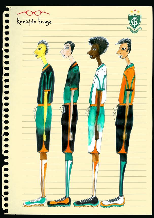 Perfil dos novos uniformes do América-MG, desenhados pelo estilista Ronaldo Fraga. Crédito: Ronaldo Fraga/Divulgação